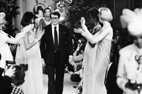 yves saint laurent on runway vintage photo