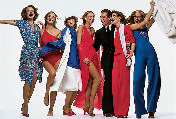 halston designer with models