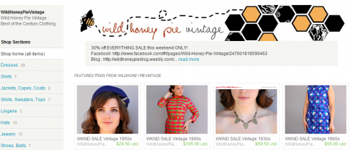 wild honey pie vintage on etsy