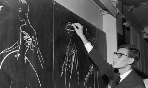 yves saint laurent sketching vintage photo