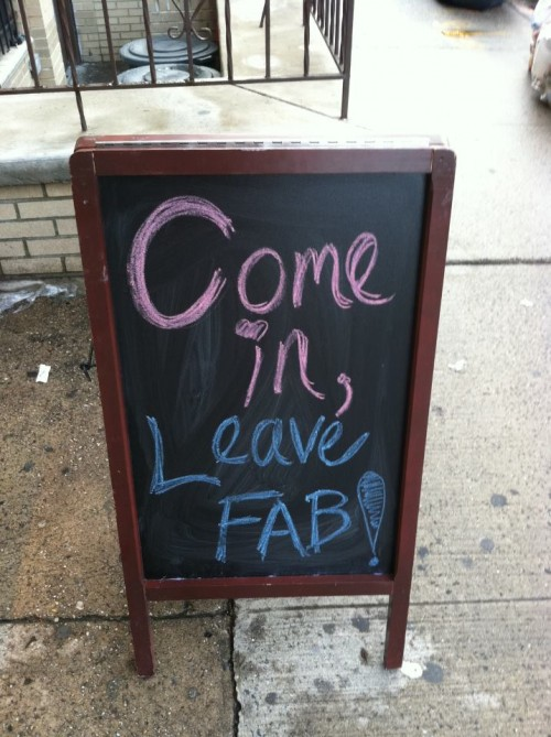 vintage store chalkboard display