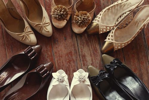 vintage shoes in circle