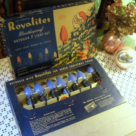 1950s blue christmas lights - 1940s Christmas Decorations