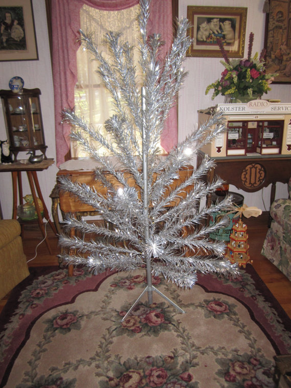 vintage decorations for a 1960s christmas tree aluminum christmas tree 1960s - Christmas Tree Decorated With Vintage Ornaments
