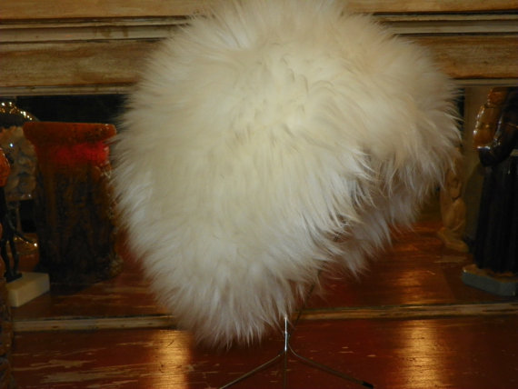 winter white rabbit fur vintage hat