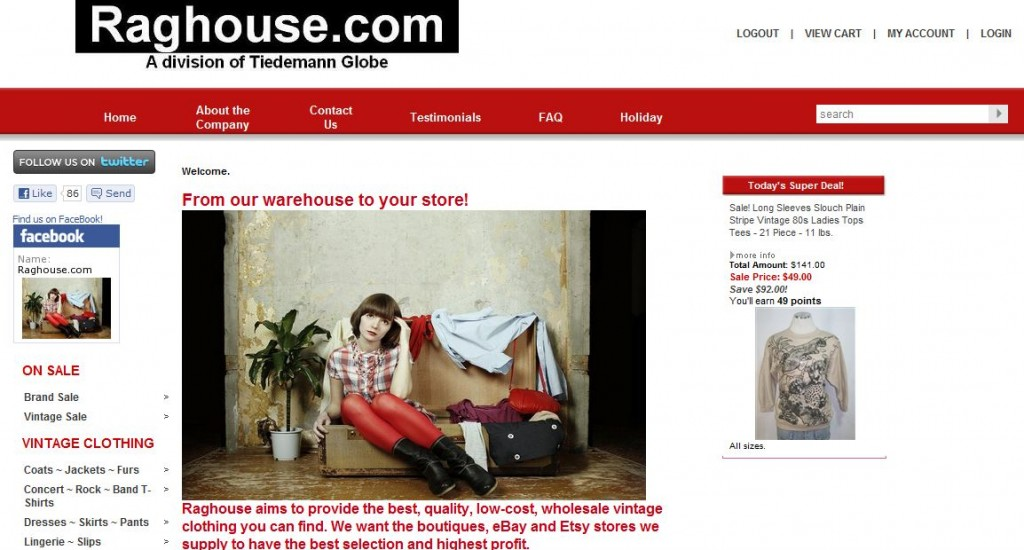 raghouse vintage warehouse web site