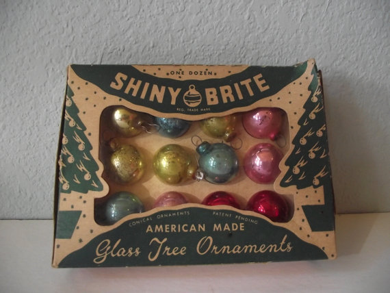 shiny brite 1950s christmas tree ball ornaments - Vintage Christmas Decorations 1950s
