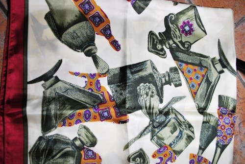 vintage silk novelty print scarf