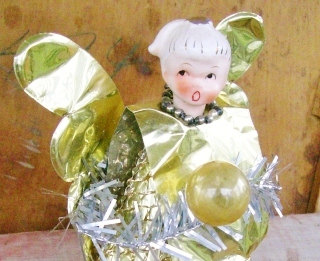vintage 50s foil angel christmas tree topper