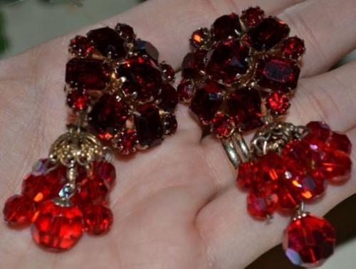 vintage estate red stone earrings