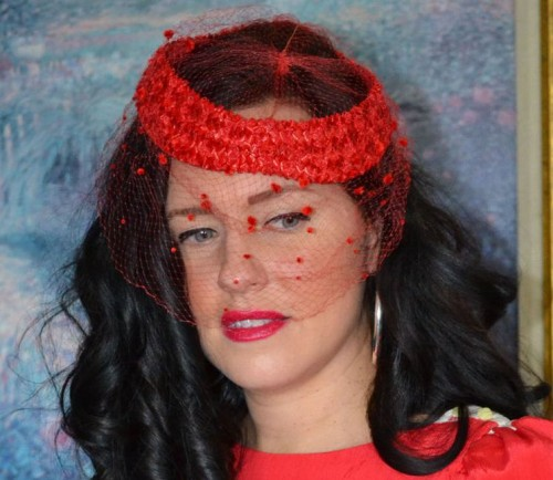vintage holiday accessories red veil hat