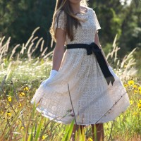 vintage winter white cream lace dress