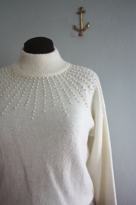 vintage winter white pearl sweater