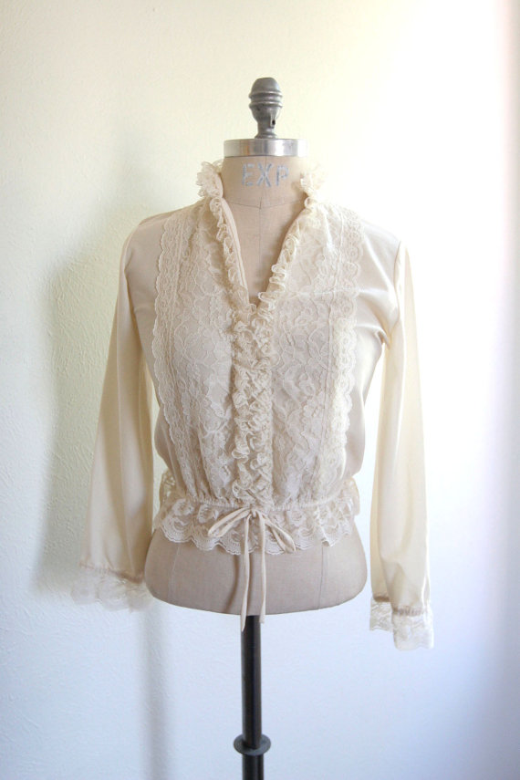 vintage winter white lace top