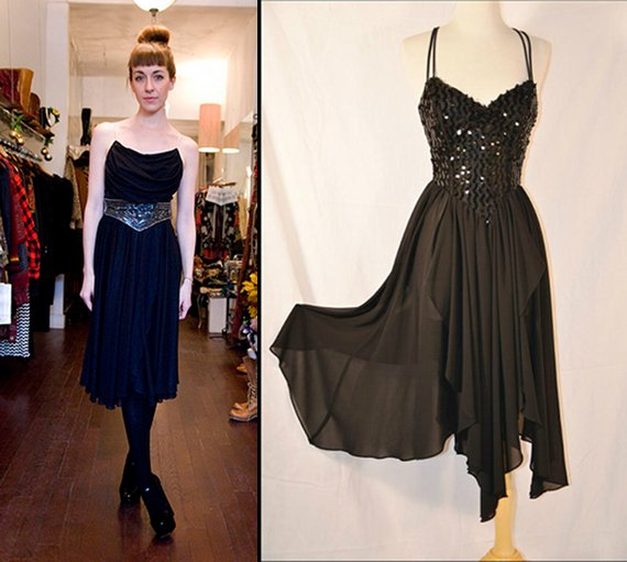 vintage rhinestone little black dress