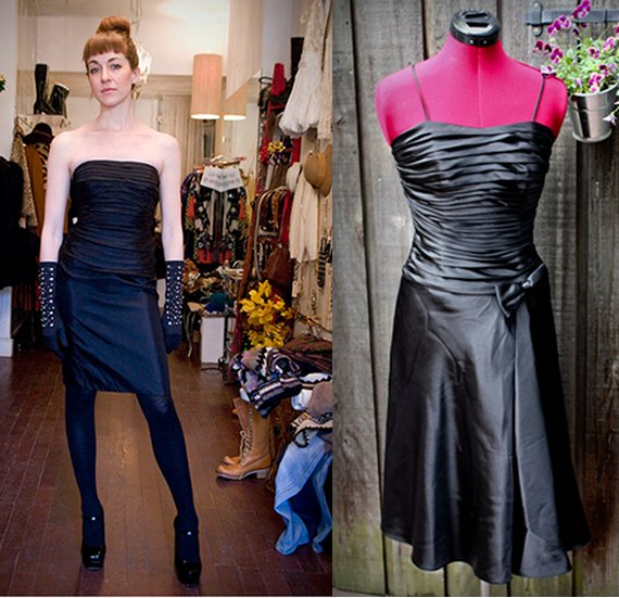 vintage ruched little black dress