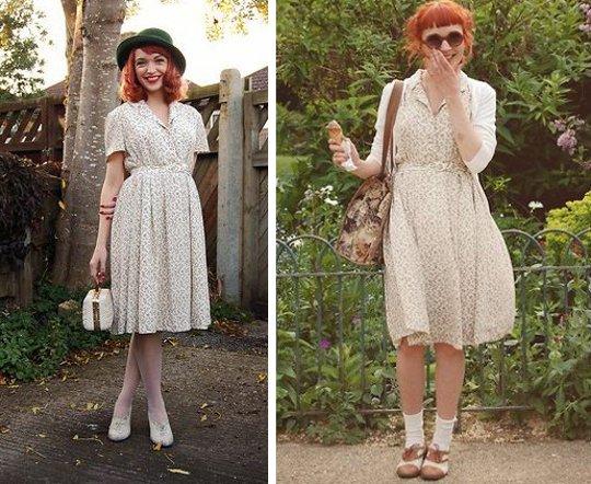 1940s vintage floral dress