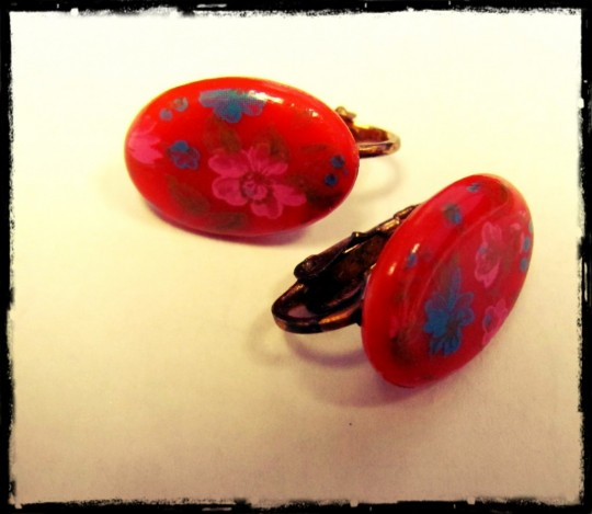red vintage valentines day earrings