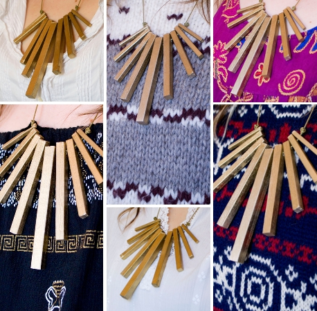 geometric necklace with vintage clothing