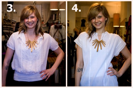 diy geometric necklace with vintage patterned dress
