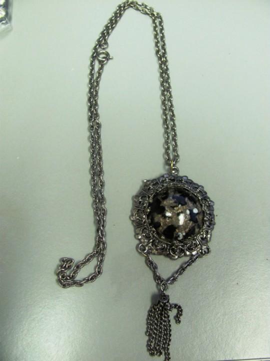 vintage cabochon fringe pendant necklace