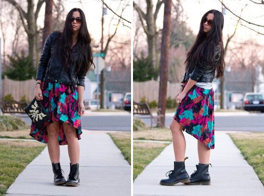 vintage 80s clothing fishtail skirt