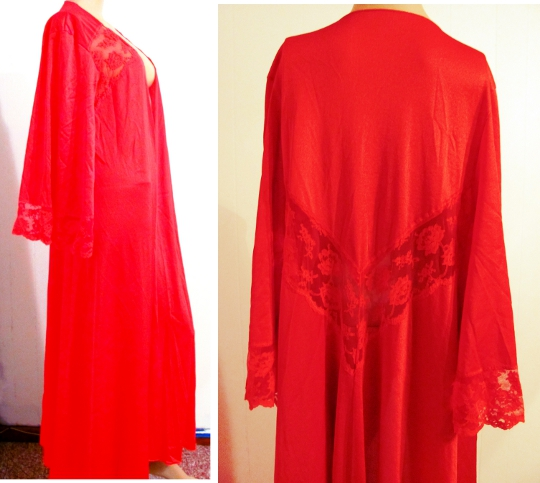 vintage valentines day red robe