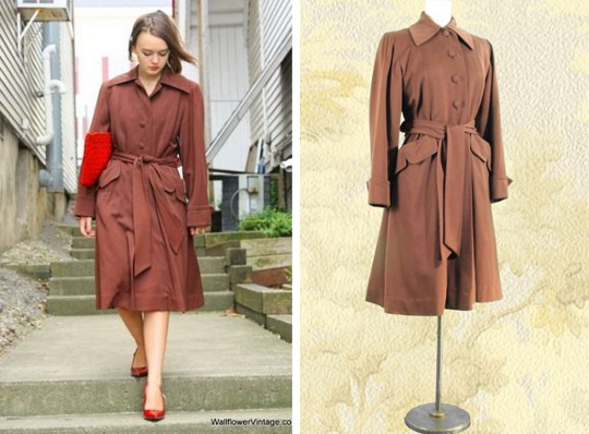 1940s knee length coat vintage