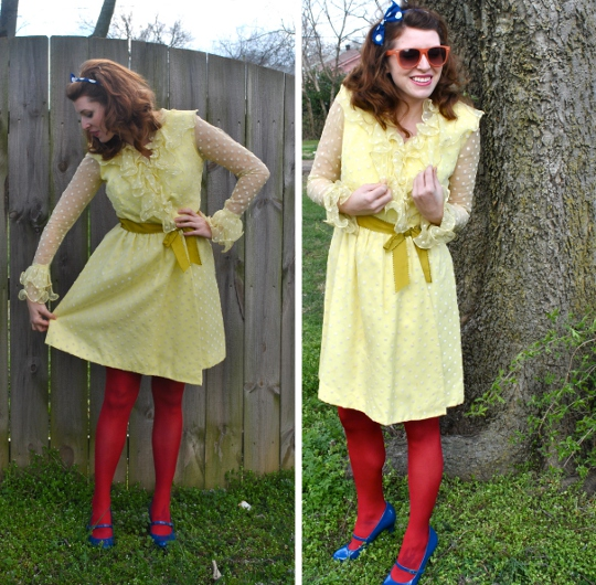 1960s vintage polka dot dress styled