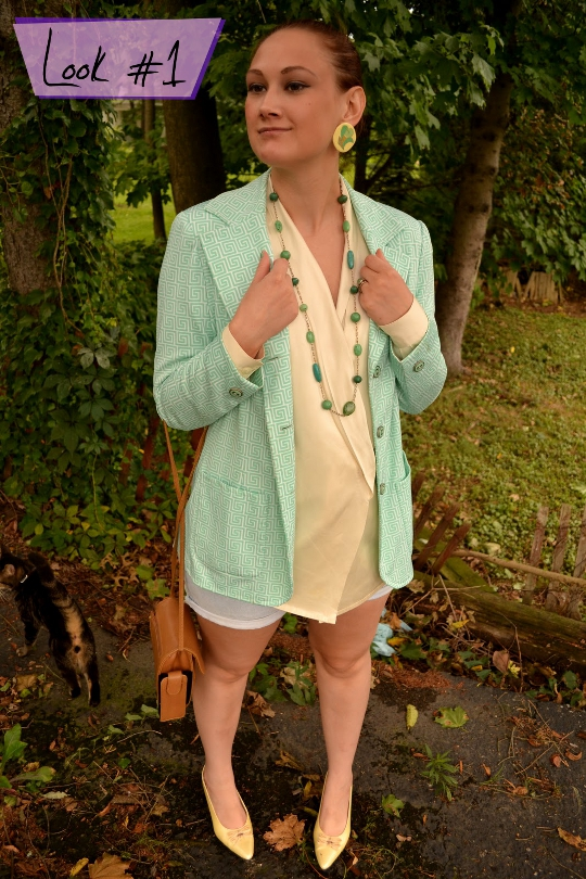 80s vintage greek key blazer styled one way