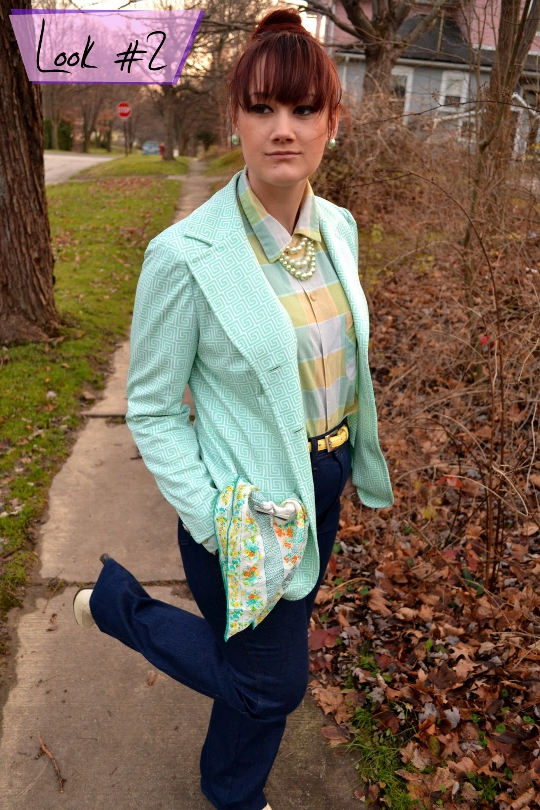 80s vintage greek key blazer styled one way on a sidewalk