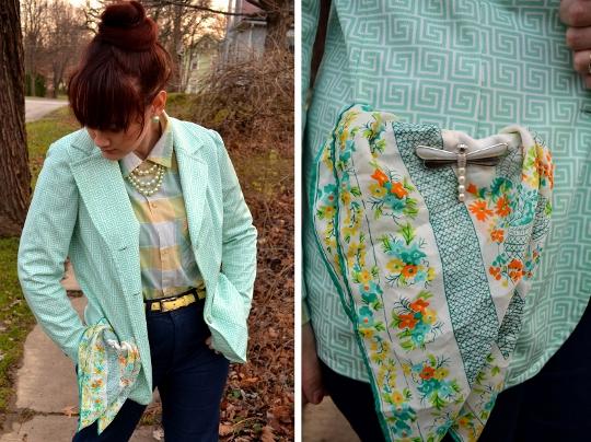 80s vintage blazer showing vintage pocket square