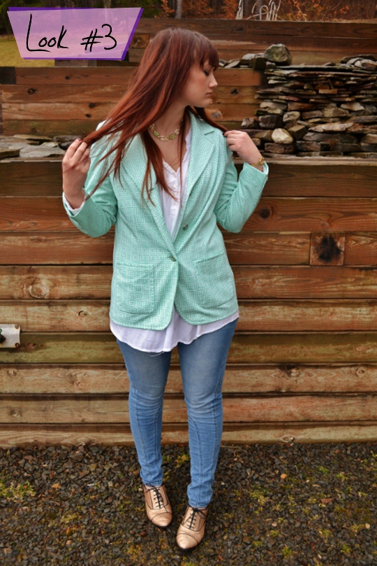 80s vintage greek key blazer styled one way against wooden backdrop