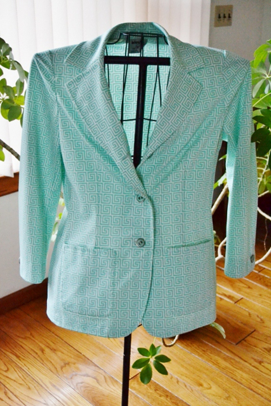 80s vintage greek key blazer on mannequin