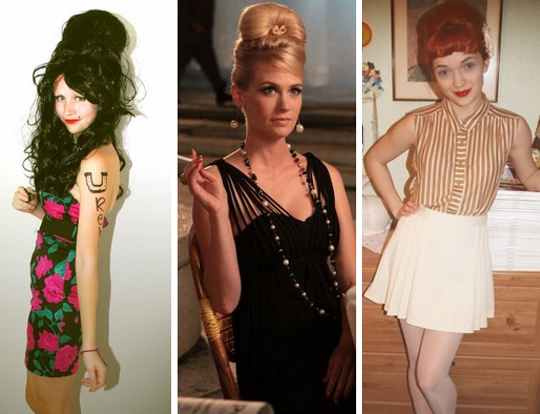 '60s inspired beehive hairdos on betty from mad men and two modern girls