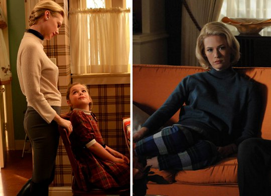 two pictures of betty draper in mad men wearing pants