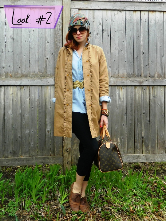 1920s vintage turban styled with trench coat and button down by fashion blogger wore out
