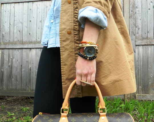 fashion blogger wore out showing accessories and ysl handbag