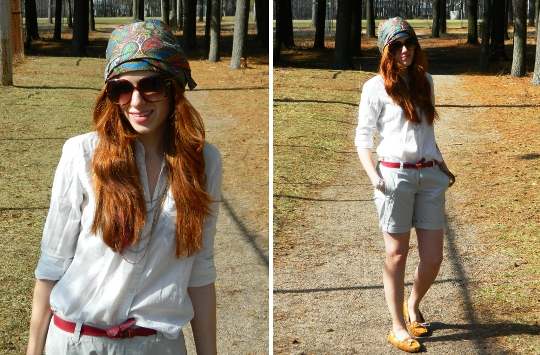 1920s vintage turban styled for spring look with shorts by fashion blogger wore out