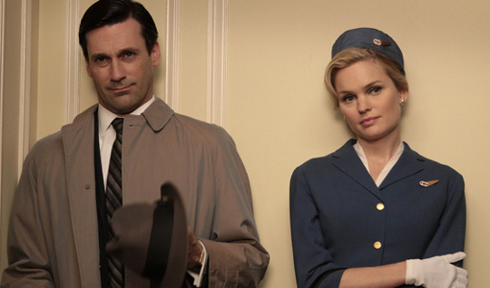 don draper and stewardess in mad men