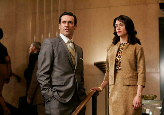 skirt suit in mad men showing leopard print blouse