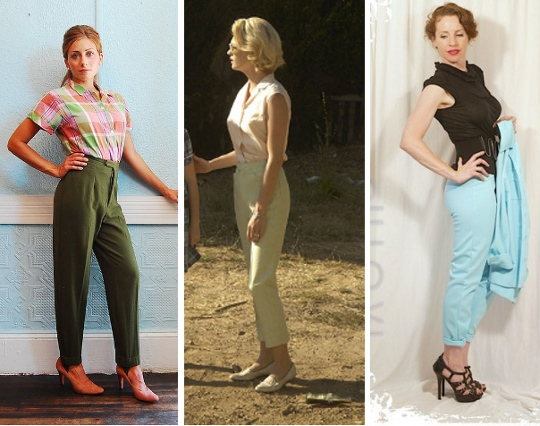 three pictures showing women wearing skinny pants from'60s