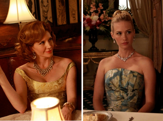 split screen of jewelry worn on mad men