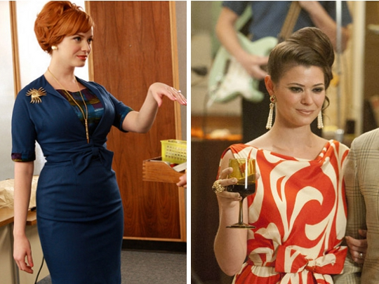 two pictures showing the updo beehive style on mad men