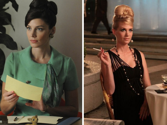 two pictures showing the beehive updo style as worn on mad men