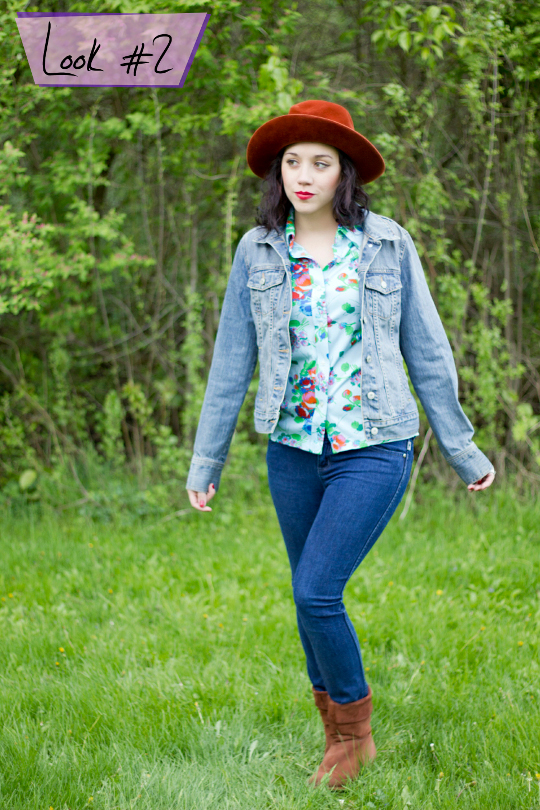 photographer modern day flapper styled a 1970s floral shirt with a denim jacket, skinny jeans and vintage brim hat