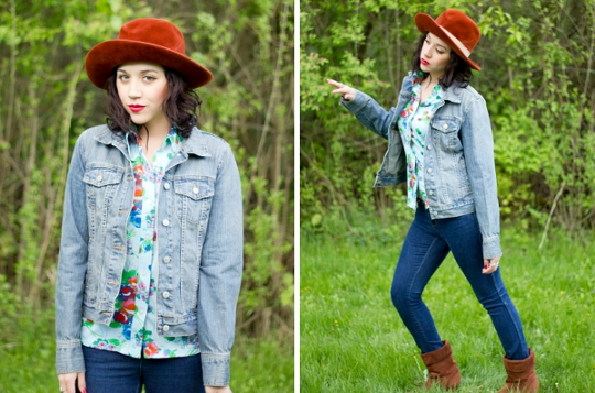 photographer modern flapper styled a 1970s floral shirt