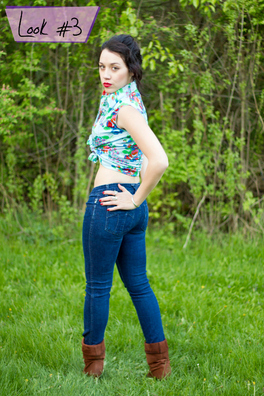 1970s floral shirt styled as a pin-up crop top