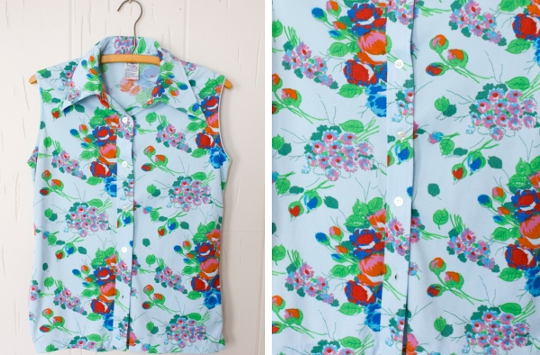 1970s button-up collared shirt with floral design