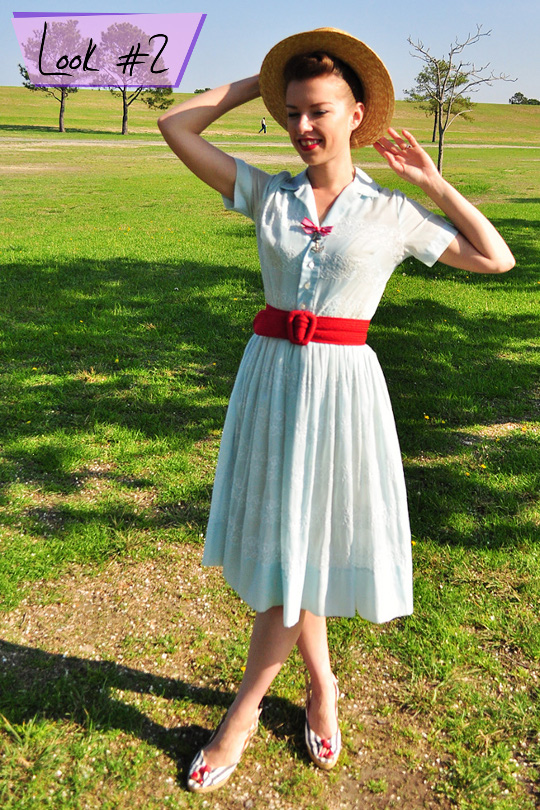 1950s vintage shirtwaist dress styled